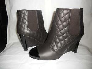 CHANEL-Brown-Quilted-Leather-Patent-Cap-Toe-Wedge-Ankle-Booties-Boots-1325