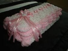 """HAND Crochet per neonate COPERTA Seggiolino Auto/Culla/Carrozzina 26"""" bianco/rosa * NUOVO *"""