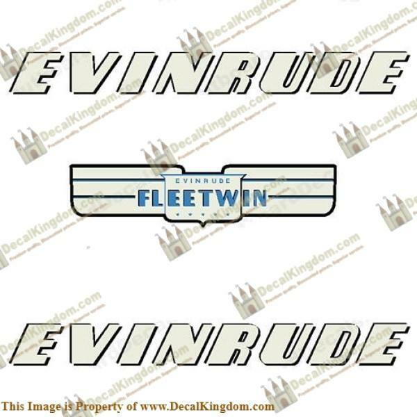 Evinrude 1952 7.5hp Fleetwin Outboard Decal Kit 3M Marine Grade