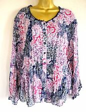 Coldwater Creek Wrinkled Poly Floral Blouse Top sz 1X