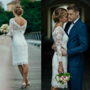 Short-Full-Lace-Wedding-Dresses-Bridal-Gowns-White-Ivory-Knee-Length-3-4-Sleeves