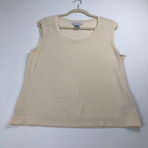 Nine-West-Women-s-Shell-Tank-Top-XL-Cream-Beige-Scoopneck-Sleeveless-Rayon-Nylon