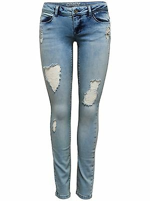 ONLY Damen Hüft Jeans Hose CORAL SL DESTROY SKINNY JEANS 1043 FW denim superlow