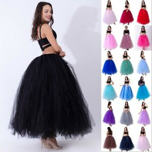 Layers-Tulle-Long-Tutu-Skirts-Prom-Party-Petticoat-Slip-Underskirt-Princess