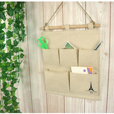 Tower 5 Pockets Closet Door Home Wall Hanging Organizer Storage Stuff Bags Pouch