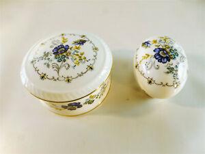 2-Pillendosen-klein-Porzellan-La-Reine-Made-in-England-rund-und-Eiform