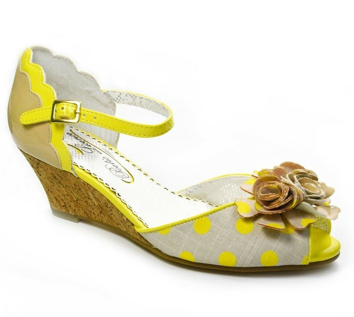 Poetic Licence Femmes Crazy Daisy Wedge Sandales Chaussures jaune 6.5, 7.5