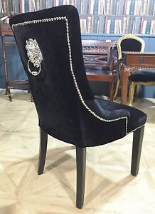 Image Is Loading Chrome Lion Knocker Studded Dining Chair Black Fabric