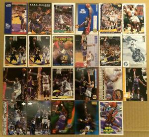 Karl-Malone-LOT-of-43-inserts-parallel-base-cards-NM-HOF-Utah-Jazz-1991-1998
