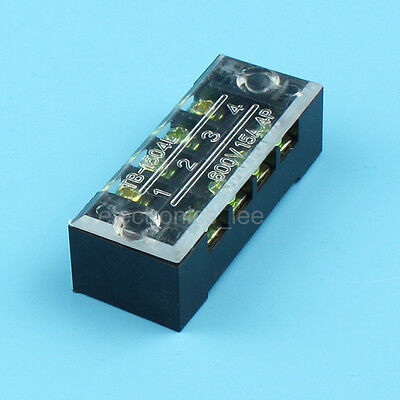 TB1504L15A 600V 2 Row 4 Position Screw Terminal Barrier Block connector /w Cover