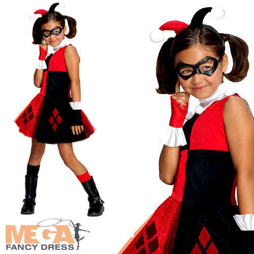 HARLEY Quinn Ragazze Costume Supereroe /& cattivi Halloween Costume Bambino Kids