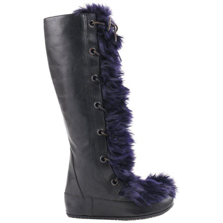 Marni Negro Cuero Cuero Cuero Y Azul Marino Angora Piel Con Cordones botas A La Rodilla-Alto Apres  los clientes primero