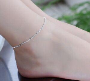Womens 925 Sterling Silver Ankle Bracelet Silver Anklet Chain Beach Leg Gift v2