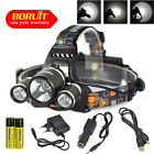 BORUiT 13000Lm 3*XM-L 3T6 LED Head Lamp Headlamp Torch 18650 AC/CAR/USB Charger