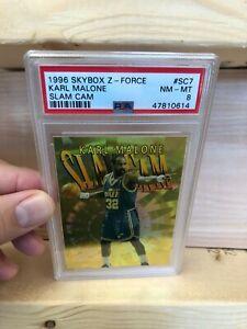 Karl-Malone-Slam-Cam-SC7-1996-97-Skybox-Z-Force-Sp-Rare-Jazz-PSA-8-ULTRA-RARE