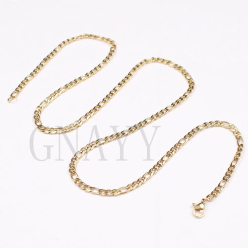 18K IP Gold Plated Black Plated silver figaro link necklace S.steel charm 4mm