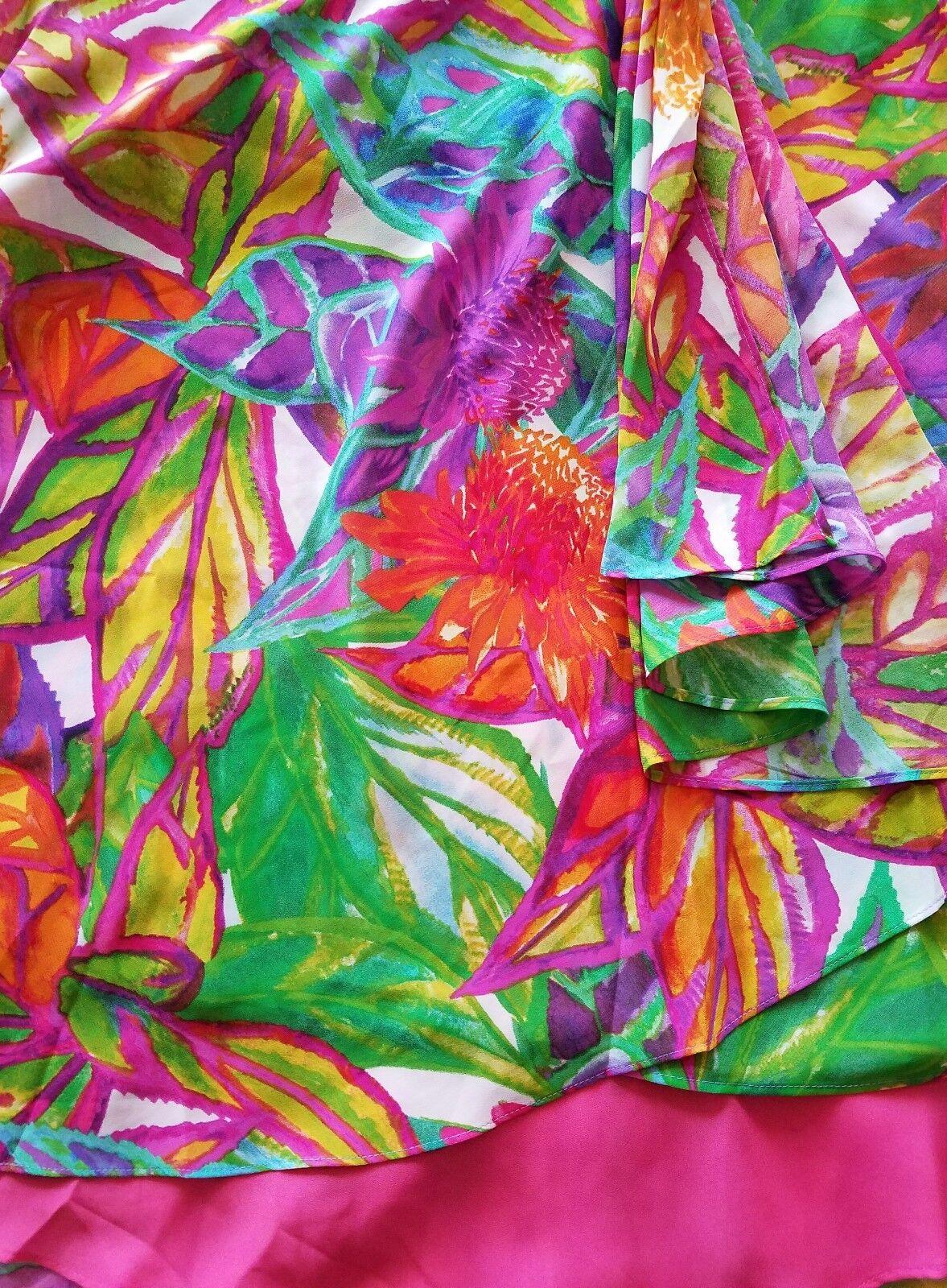 Ralph Lauren Floral Multi-color Lined Faux Wrap Skirt Sz 14 Petite THESPOT917