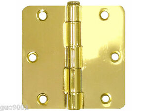 "27 Pack Polished Brass 3.5/"" x 3.5/"" 1//4 Radius Corner Interior Door Hinges"