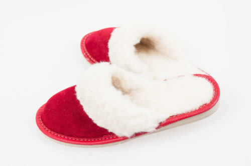 Women`s//Ladies Warm Slippers Suede Leather/&Sheepwool size:UK3,4,5,6,7,8 Red