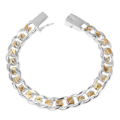 Deux-Tone Ouvert Curb Lien Sterling Silver Bracelet pour hommes ou femmes