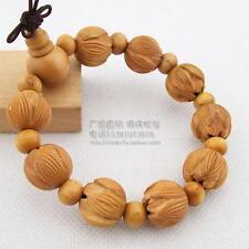 Tibetan Buddhist Peach Wood Carved Lotus Prayer Beads Meditation Mala Bracelet