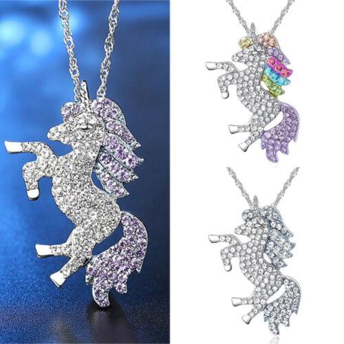 Fashion Multicolor Pegasus Necklace Sparkly Micro-encrusted Unicorn Pendants