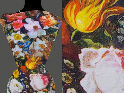 50cm STOFF GEORGETTE Blumen Blumenmuster bunt 10,20 €//m