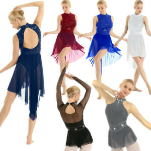 Women-039-s-Backless-Shiny-Lyrical-Dress-Contemporary-Ballet-Dance-Leotard-Costume