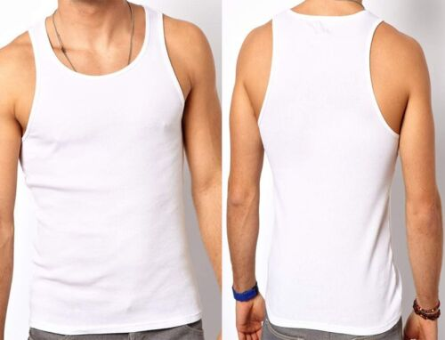 SUMMER COLLECTION Mens White Fitted Vests Crew Neck All Sizes 100/% Cotton New