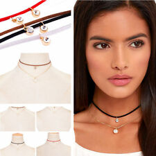 Red Women Velvet Leather Choker Necklace Pearl Rhinestone Chain Jewelry Gift
