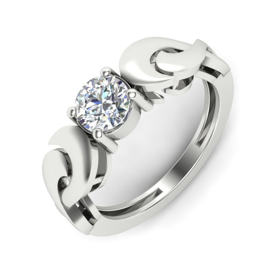 Certified 0.80ct Moissanite  Engagement Ring 14kt gold