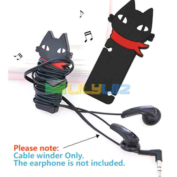 Black Headphone Earbud earphone Cord Cable Rubber Winder Manage Organizer Cool