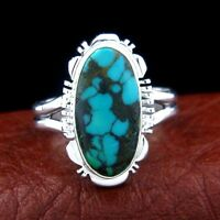 Sterling Silver Ladies Turquoise Ring Native American Made Size 9 --- R59 C T
