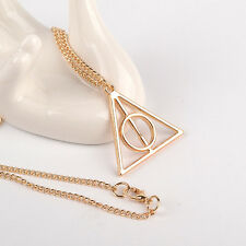 Harry Potter The Deathly Hallows Necklace Gold Color Charm Pendant Chain USA