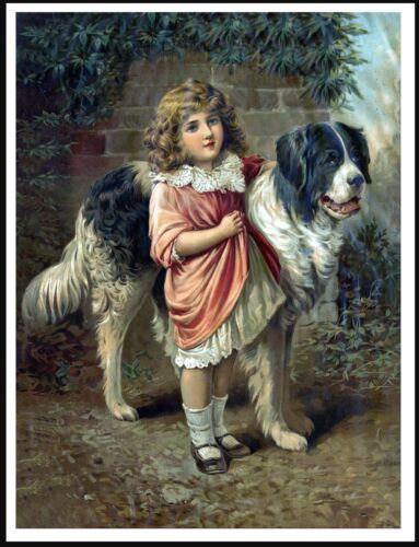 NEWFOUNDLAND LITTLE GIRL AND LARGE DOG LOVELY ANTIQUE STYLE DOG PRINT POSTER