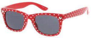 KIDS BOYS GIRLS RED WITH POKE-A-DOTS WAYFARER CLASSIC RETRO SUNGLASSES SHADES