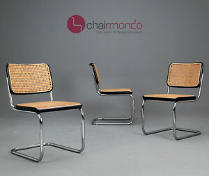 thonet s32 freischwinger bauhaus klassiker st hle schwarz breuer chairs ebay. Black Bedroom Furniture Sets. Home Design Ideas