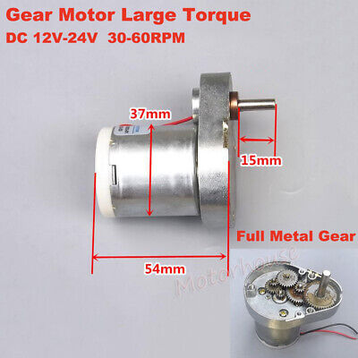 DC 12V-24V 230RPM Slow Speed Large Torque Gear Motor Mini 37mm Gearbox Reduction