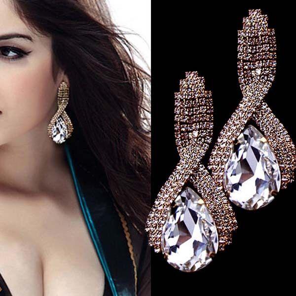 Women`s Elegant Crystal Rhinestone Ear Studs Earrings Dangle Eardrop Earring NEW