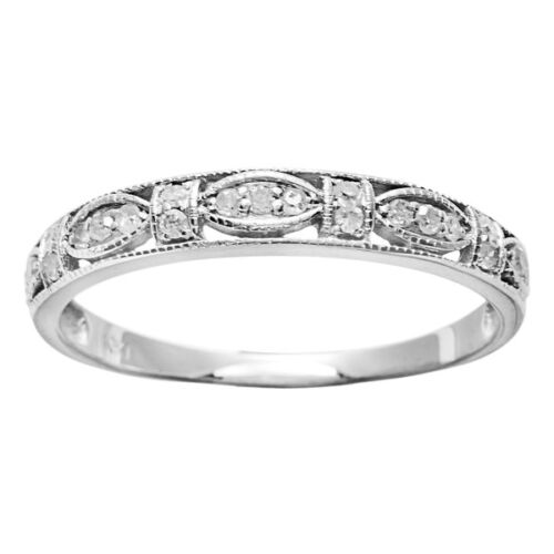 G-H, I1-I2 White Gold 1//4ct Vintage Style Pave Diamond Ring