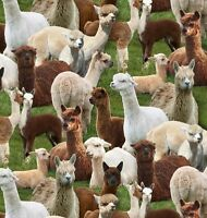 Alpacas - Farm Animals - Elizabeth's Studio 445-green (sold By The 1/2 Yard)