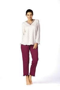 buy online e0a6d 43df0 Details zu Comtessa Schlafanzug Pyjama Damen in ecru bordeaux Gr. 44 46 48  50 52