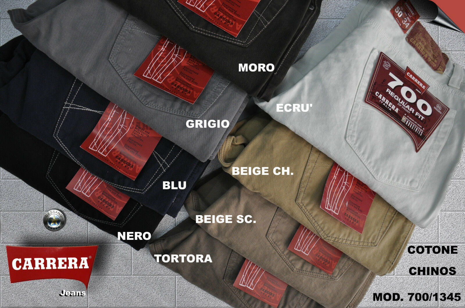 PANTALONE CARRERA 5 Jeans COTONE CHINOS 5 CARRERA COLOR 46 48 50 52 54 56 58 4d4598
