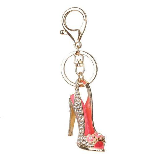 High Heel Shoe Keychain Rhinestone Crystal Purse Car Key Chain Red or Green