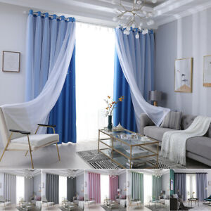 Double-Layer Panels Window Curtain Yarn Tulle Star Ombre Drapes Bedroom