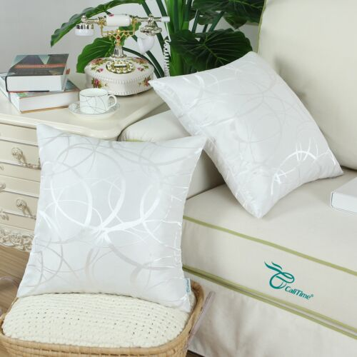Set of 2 White Modern Circles Rings Geometric Cushion Cover Pillow Covers 16x16/""