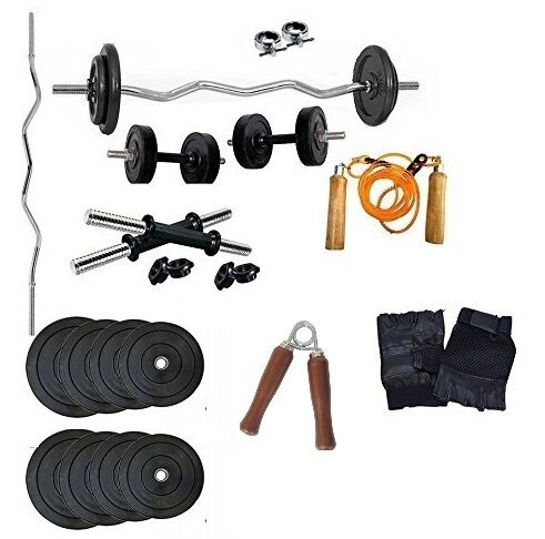 Aurion Home Gym Set 10 Kg Plate+3Ft Rod Curl+ Gloves+Skiping+Dumbbells Rods