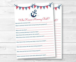 photo relating to Who Knows Mommy Best Printable called Data around Nautical Anchor Blue Purple Printable Who Is familiar with Mommy Least complicated Child Shower Activity