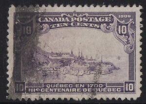 MOTON114-101-Tercentenary-10c-Canada-used-well-centered-cv-200
