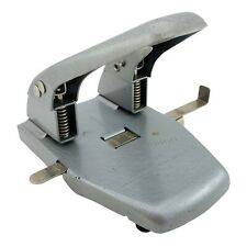 Vintage Mutual Punch Model No 50 1950s Grey Metal 2 Hole Paper Punch